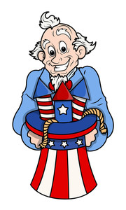 Celebration Uncle Sam Cartoon Vector
