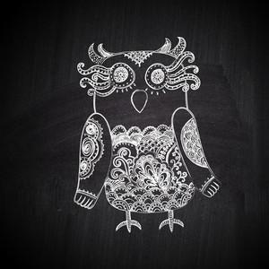 Chalk Drawing Greeting Card With Cute Bird On Chalkboard Blackboard