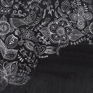 Chalk Floral Corner On Chalkboard Blackboard. Ornamental Round Lace Pattern