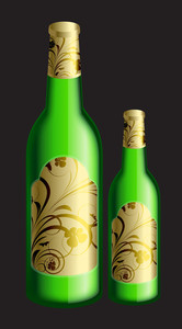 Champaign Bottles With Floral Labels Vector