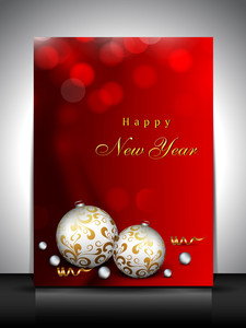 Chandni_new Yeabeautiful Greeting Card Or Gift Card For New Year Celebration Decorated With Eve Balls And Snowflakes. R_17_12_13