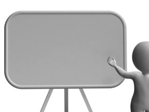 Character With Blank Signboard Allows Message Or Presentation