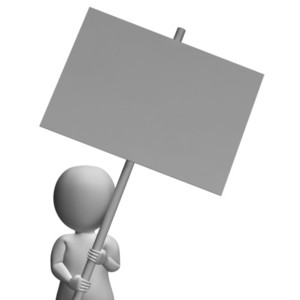 Character With Placard Allows Message Or Presentation