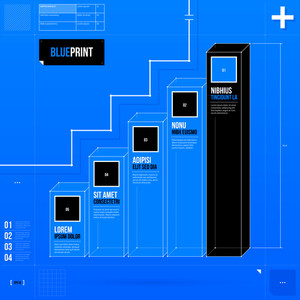 Chart Template With Five Bars In Blueprint Style. Eps10