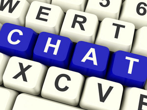 Chat Word On Keyboard Representing Talking Or Texting