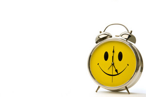 Cheerful Alarm Clock With Shadow and Copy Space