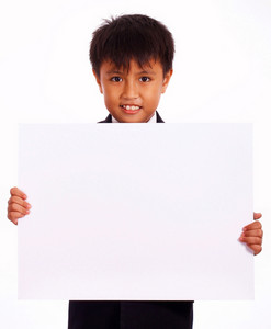 Cheerful Boy Holding A White Board
