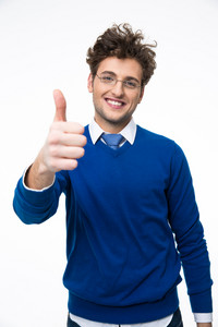 Cheerful business man with thumb up over white background