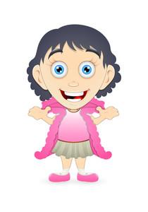 Cheerful Kid Girl Character