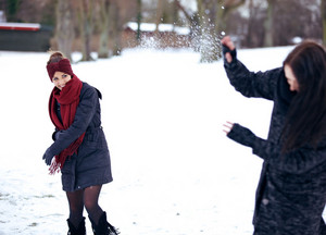 Cheerful Women Enjoying the Snow
