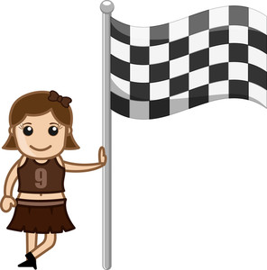 Cheerleader Girl Standing With Racing Flag