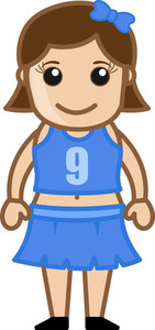 Cheerleader Girl Vector Cartoon