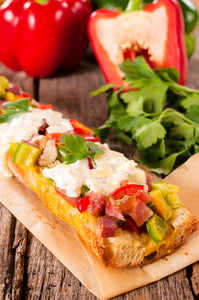 Cheese And Vegetables On Bread