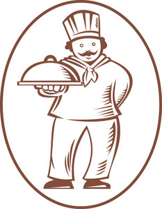Chef Cook Baker Holding Dish Platter