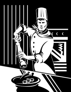 Chef Cook Baker Holding Holding Pepper Shaker In Kitchen