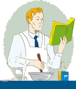 Chef Cook Baker Holding Mixing Bowl Recipe Book Learning Cooking