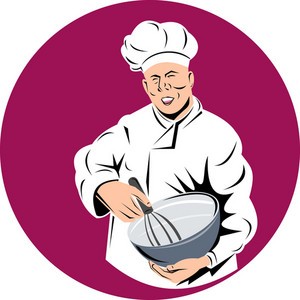 Chef Cook Baker Holding Mixing Bowl