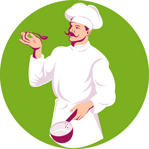 Chef Cook Baker Holding Sauce Pan And Spoon