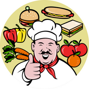 Chef Cook Baker Thumbs Up Fruit Sandwich Food