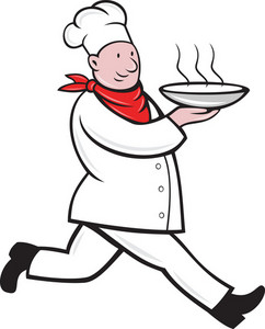 Chef Cook Running Serving Hot Soup Bowl