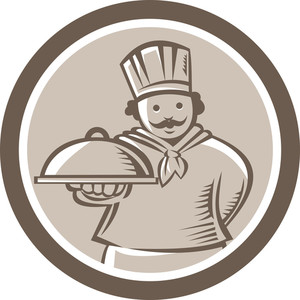 Chef Cook Serving Food Platter Circle