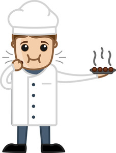 Chef Eating Sweet Dish - Vector Cartoon