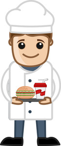 Chef Prepared Food - Cartoon Business Vector Character