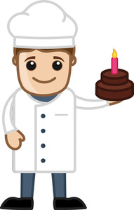 Chef Presenting Birthday Cake - Cartoon Business Vector Character