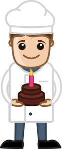 Chef Presenting Birthday Cake - Cartoon Vector