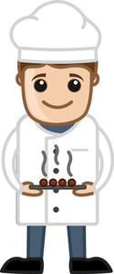 Chef Presenting Dish - Cartoon Business Vector Character