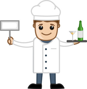 Chef Presenting Drink - Cartoon Business Vector Character