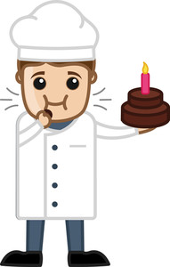 Chef Testing Cake - Cartoon Business Vector Character