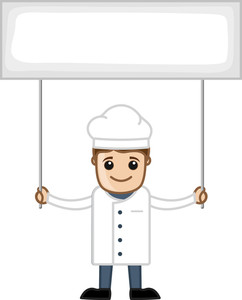 Chef With Banner - Cartoon Business Vector Character