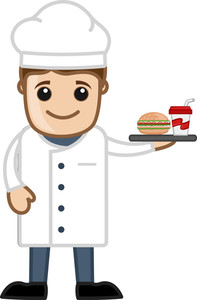 Chef With Lunch - Cartoon Business Vector Character
