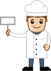 Chef With White Banner - Cartoon Business Vector Character