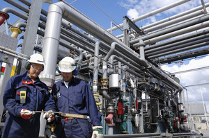 chemical engineers with pipelines