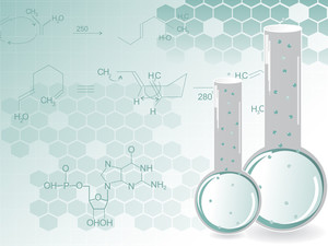 Chemical Formula Background With Laboratory Flask