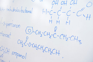 Chemical molecular structure on white board