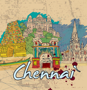 Chennai Doodles Vector Illustration