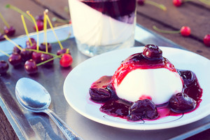 Cherries Jelly On Panna Cotta