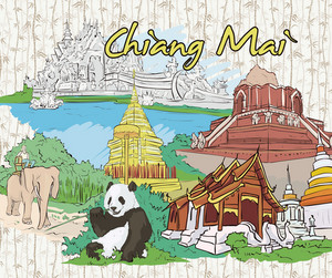 Chiang Mai Doodles Vector Illustration