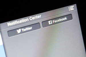 CHIANG MAI, THAILAND - OCTOBER 01, 2014: Facebook and Twitter button on notification center of OSX Apple opering system.