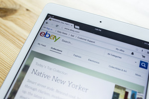 CHIANG MAI, THAILAND - SEPTEMBER 07, 2014: Close up of ebay's website on a Apple ipad Air screen. ebay is one of the largest online auction and shopping websites announces a new application for mobile devices