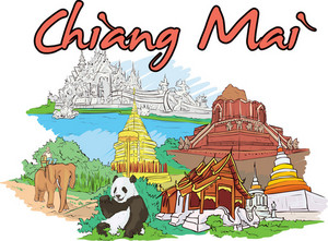 Chiang Mai Vector Doodle