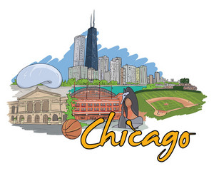 Chicago Doodles Vector Illustration