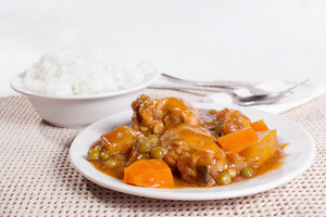 Chicken Afritada With Bowl Of Rice