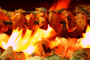 Chicken Tikka Kebab Over Coal Bbq