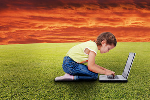 Chidren activities on laptop isolated in white