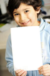 Child portrait with blank notebook copyspace