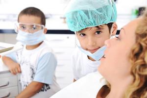 Child Teeth checkup at dentist's office